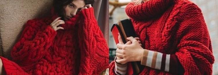 Красный свитер для модниц