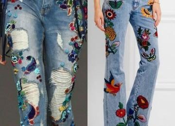 Джинсы с вышивкой — модны ли они?