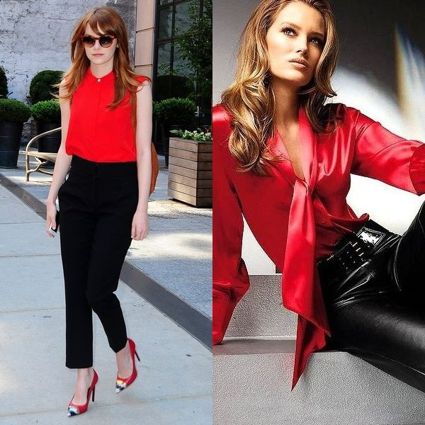Блузки красные женские