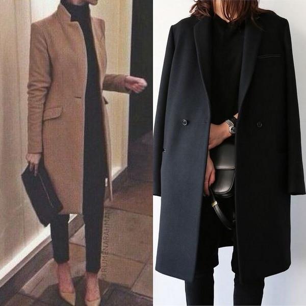 На фото модные фасоны и виды пальто