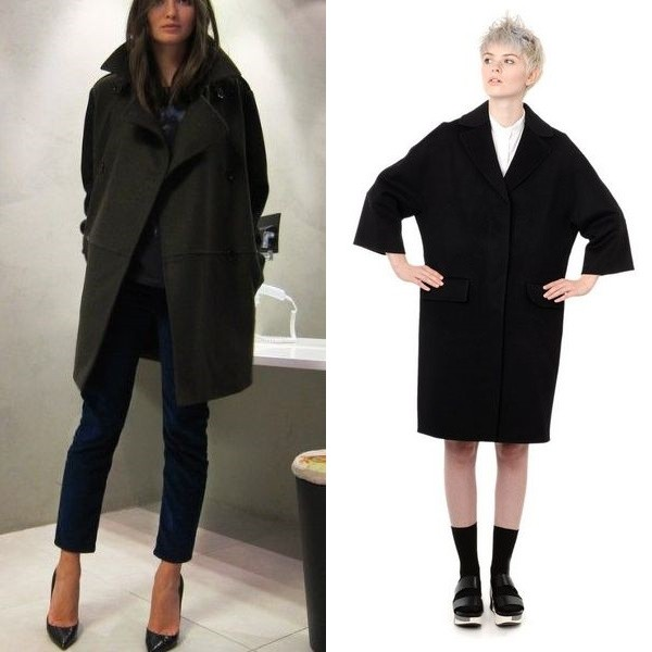 На фото модный вид пальто кокон