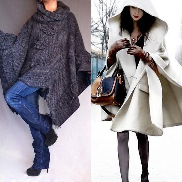 На фото фасоны пальто кейп и пончо 2016 года