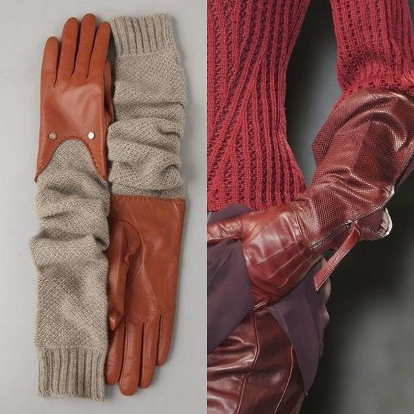 На фото модные длинные перчатки 2017 года