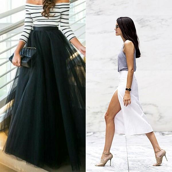 На фото длинные юбки 2016 года