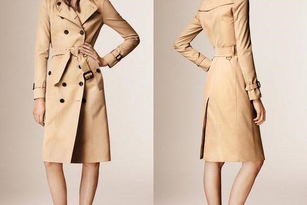 Модная модель женского классического пальто – тренч или тренчкот на фото