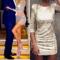 На фото коктельное платье с пайетками