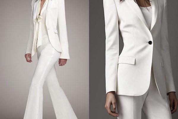 Белые женские костюмы для делового и офисного образа 2018 года