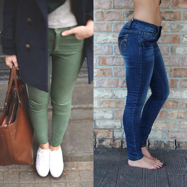 На фото осенние джинсы скинни