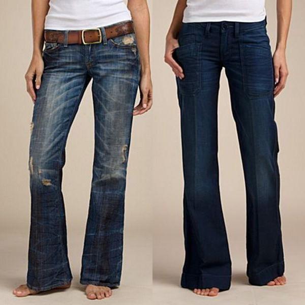 На фото модные осенью джинсы клеш