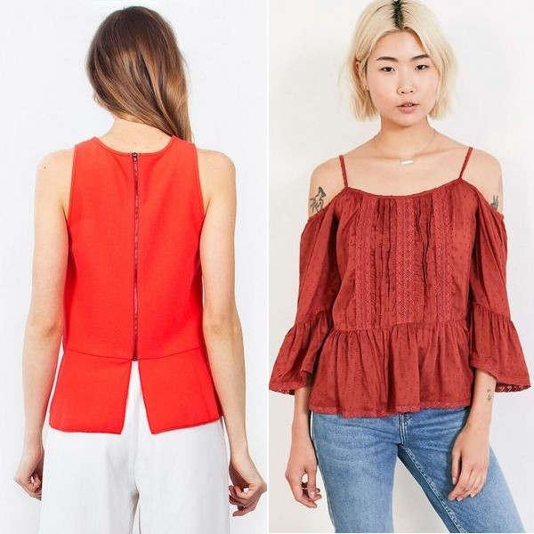 На фото красная блузка с баской