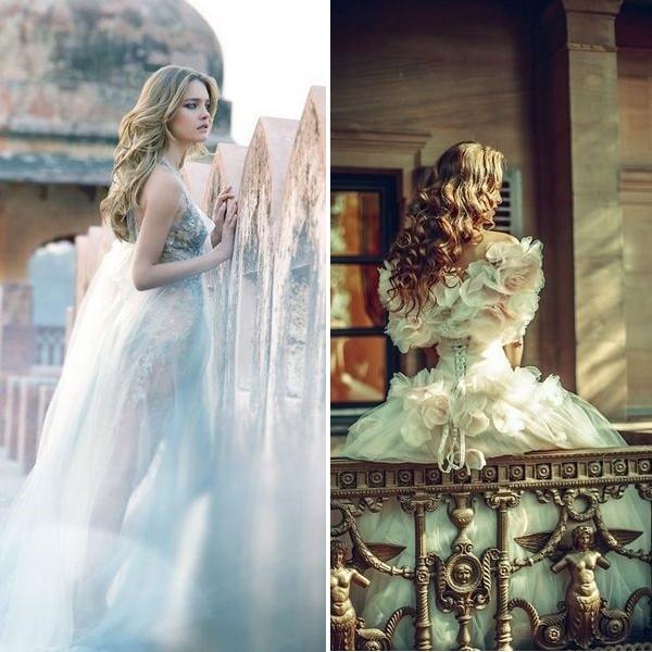 На фото свадебное платье в русском стиле