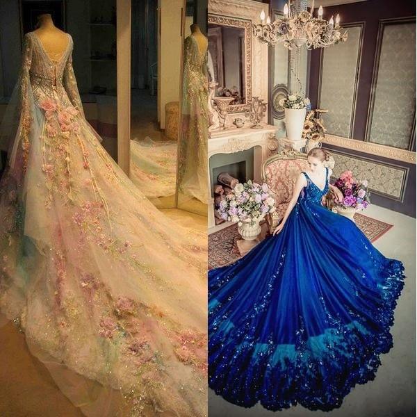 На фото свадебное платье в народном стиле