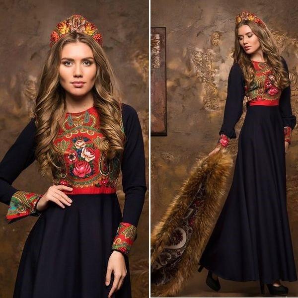Платья в русском стиле от дизайнеров
