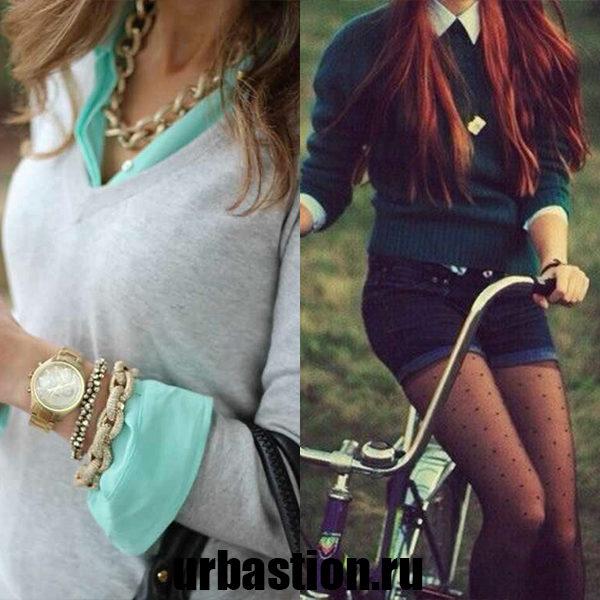 Как носить рубашку в сочетании со свитером: модная идея на фото