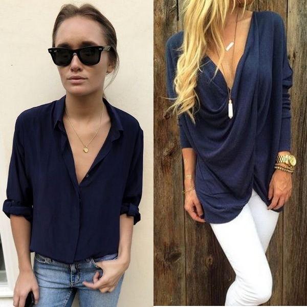 На фото синяя женская рубашка