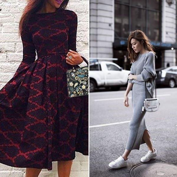 На фото длинное теплое платье на зиму