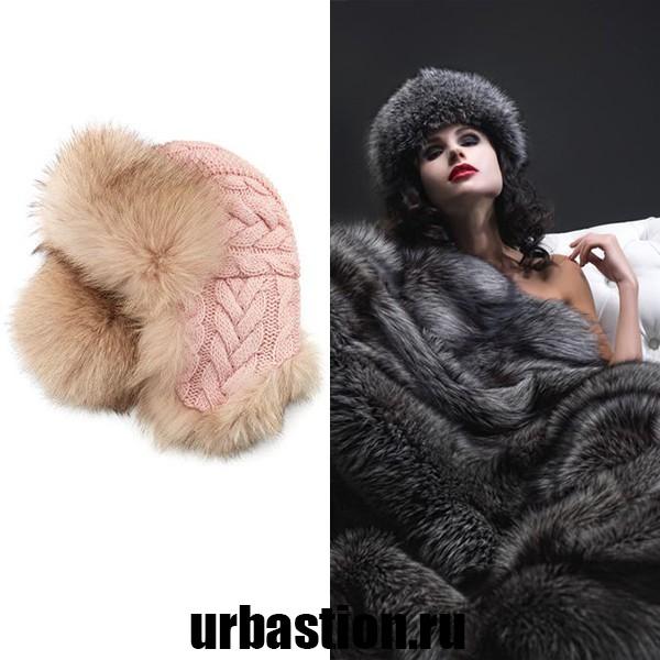 На фото шапки из меха лисы