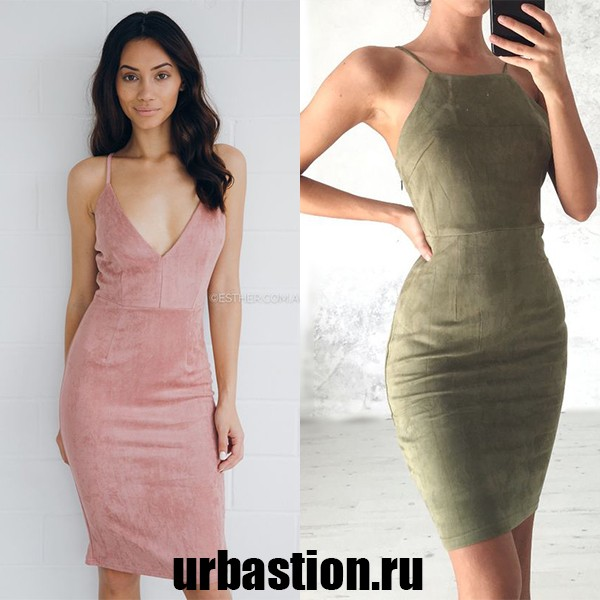 На фото модное замшевое платье на 2018 год