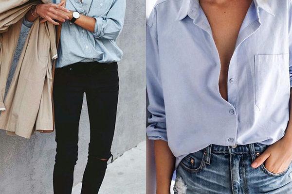 Женская рубашка голубого цвета 2018 года на фото: классика делового и повседневного стиля
