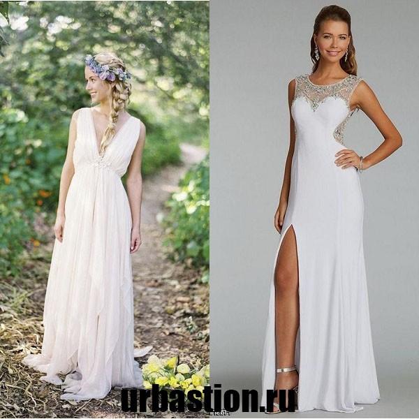 На фото вечернее платье на выпускной в греческом стиле