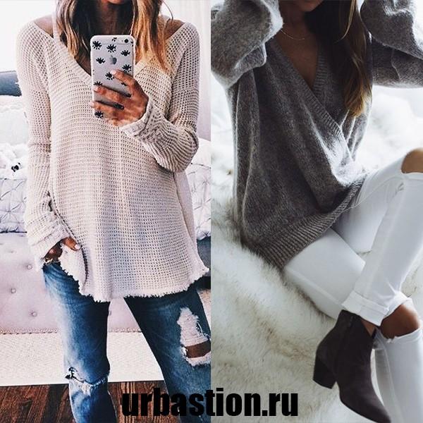 На фото женский пуловер на 2018 год