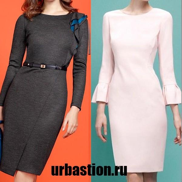 На фото женское платье в деловом стиле