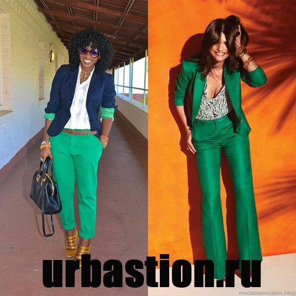 Зеленые женские брюки — модные яркие краски 2018 года на фото