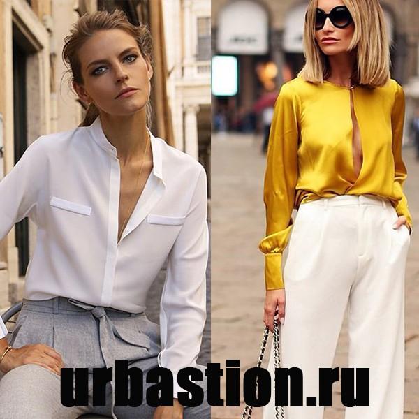 На фото новинки женских блузок из натурального шелка