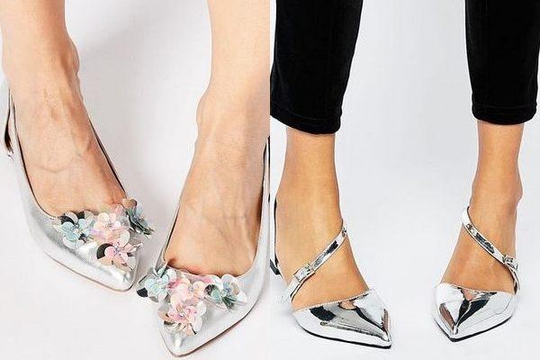 Босоножки серебряного цвета: сказочная туфелька 2018 года на фото