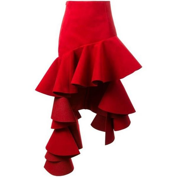 На фото женская юбка с воланами