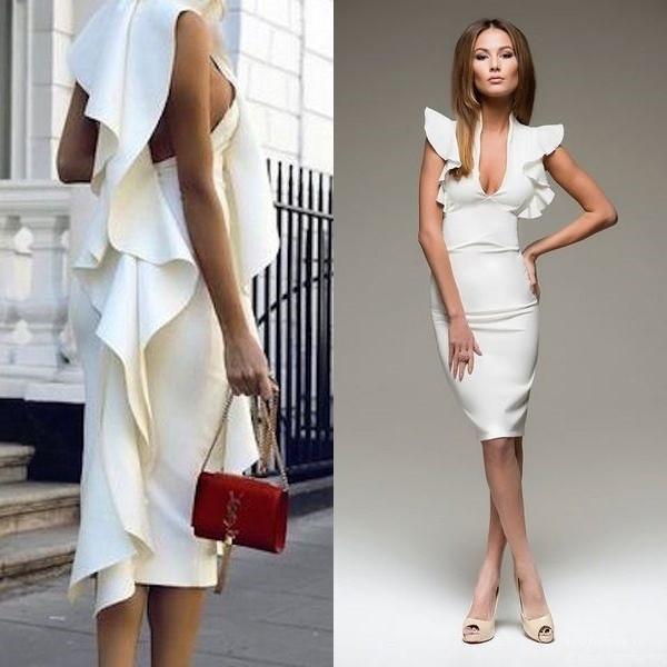 Посмотрите на фото далее белое платье с воланами, которое подойдет для  девушек с идеальной фигурой  13caa334a51