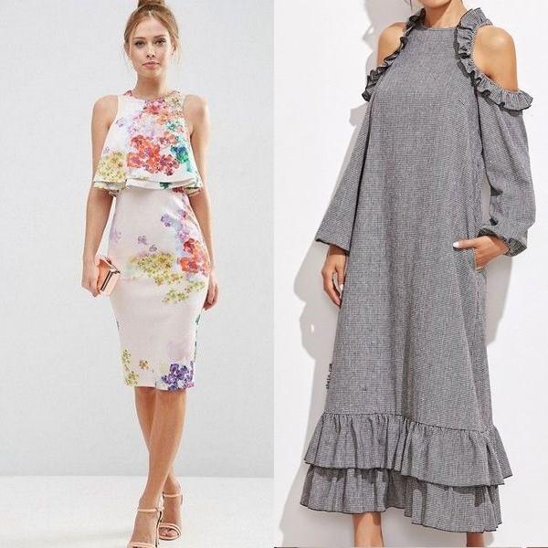 Платья из крепа с воланами