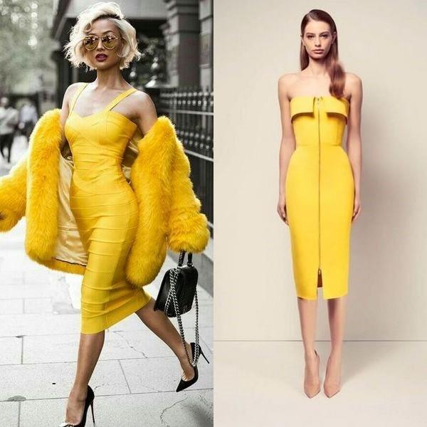 На фото лимонное платье