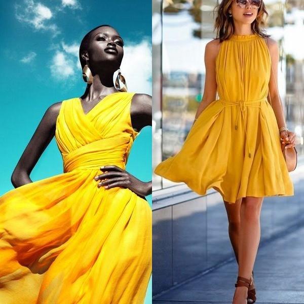 На фото желтое платье для девушек