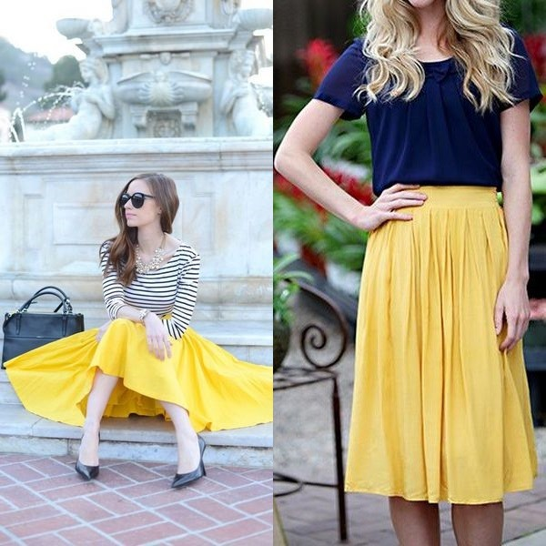 На фото юбка желтого цвета