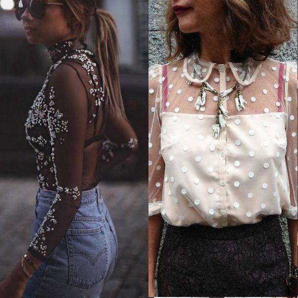 Прозрачные блузки: стильные и модные фасоны 2018 года