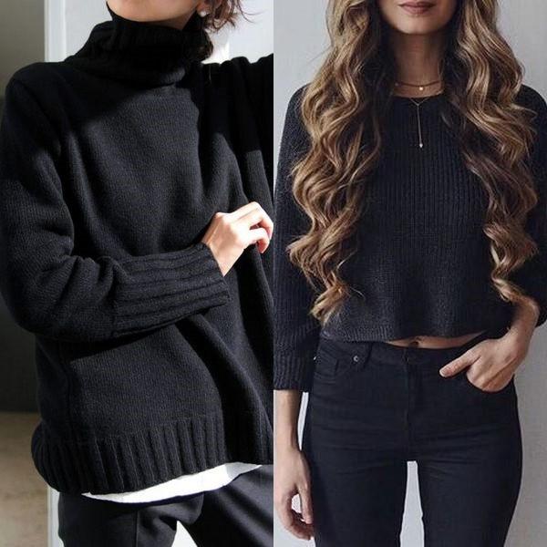 740879e5ae01 Женский черный свитер: новинки моделей на 2018 год - URBASTION