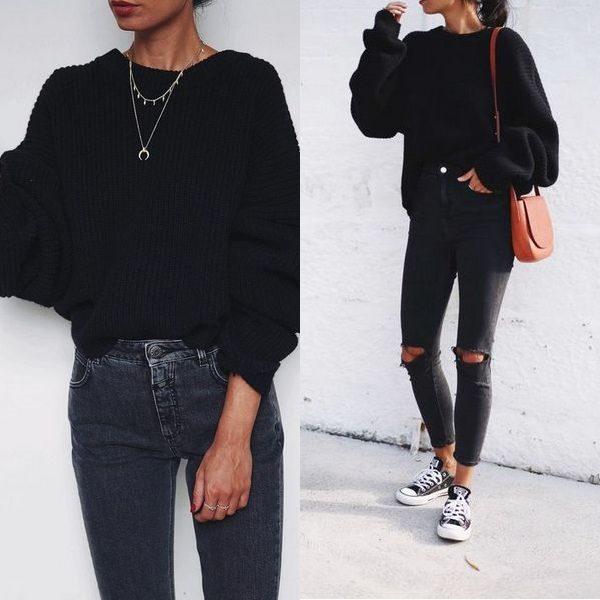 Женский черный свитер: новинки моделей на 2018 год