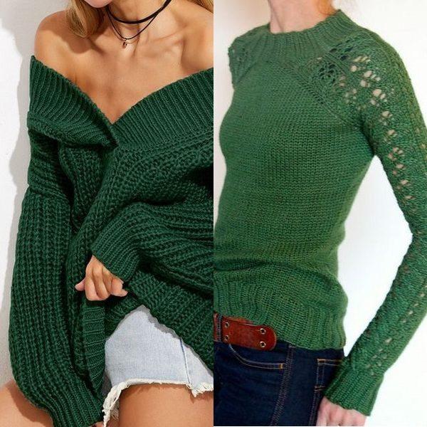 Зеленые свитеры на осень и зиму сезона 2018: новинки и актуальные модели