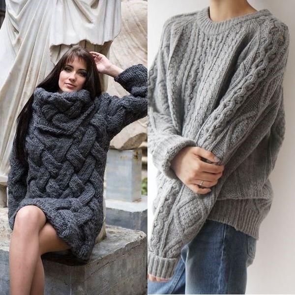 Вязаные модные женские свитера