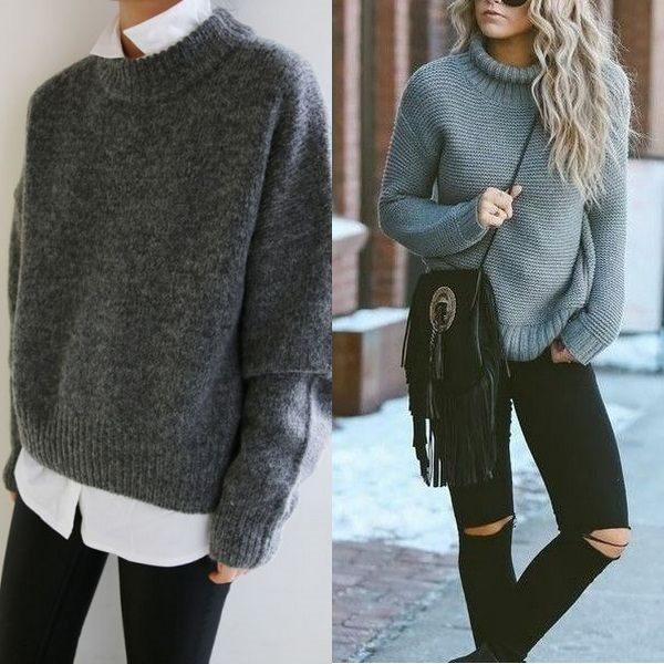 Серый свитер: модные модели 2018 года для женщин и мужчин