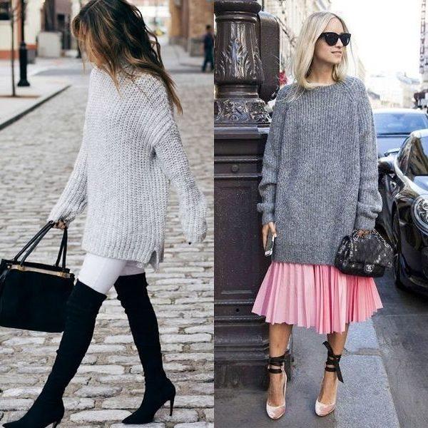 Длинные свитеры 2018: модные модели и фасоны для женщин