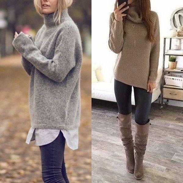 На фото длинные женские свитеры
