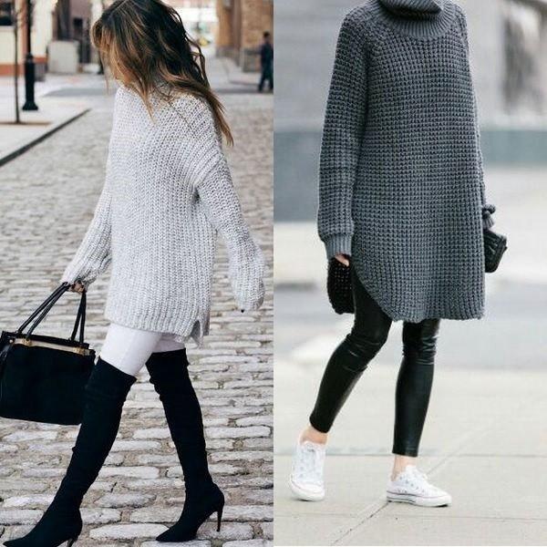 ed34de3d47a Не бойтесь носить длинный свитер с джинсами. Одна из новинок 2018 года —  брюки клеш не сочетаются с такой деталью. Поэтому