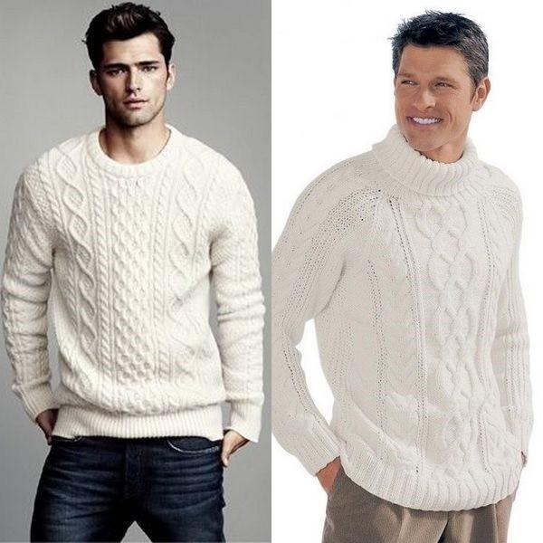 84f32c567568 В XXI веке и мужчины хотят выглядеть привлекательно и стильно. Белый свитер  с узора косами, скроет небольшой дряблый животик.