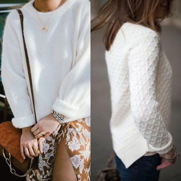 Белый свитер на зиму и осень 2018: модели для женщин, мужчин и детей