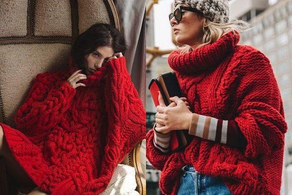 Модные фасоны и оттенки красного свитера для модниц на 2018 год