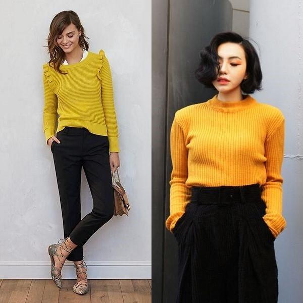 Желтый свитер женский