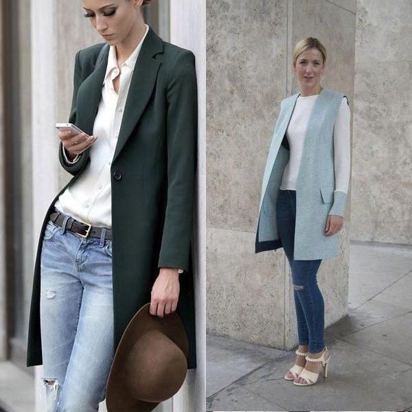 Женский длинный пиджак: новый облик привычных образов