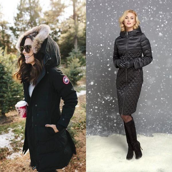 На фото зимние куртки с капюшоном для женщин
